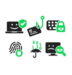 Cyber security icon set vector