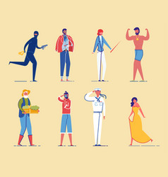 Different social groups people characters set vector