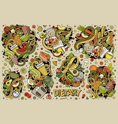 doodles cartoon set diet food vector image