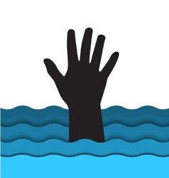 Drowning man hand sticking out of the water vector