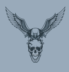 eagle with a skull in claws tattoo style vector image