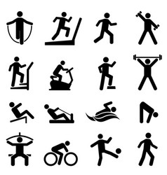 exercise fitness gym icon set vector image