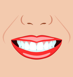 Face of girl and smile with ideal teeth for vector
