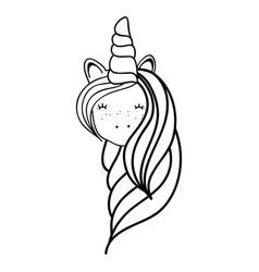 figure beautiful head unicorn with long mane vector image