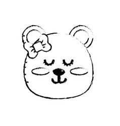 figure teddy bear girl head animal wild vector image