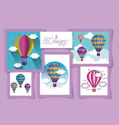 Five designs hot air balloons and clouds vector