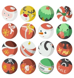 Flat christmas icons objects collection detailed vector