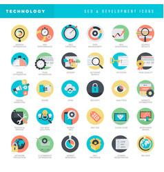 Flat design icons for seo and website development vector