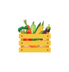 flat eggplants in wooden box icon vector image