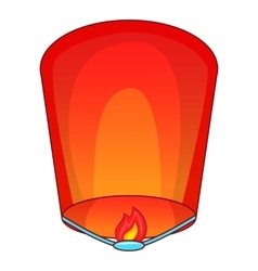 Flying lantern icon cartoon style vector