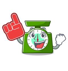 Foam finger kitchen scale mascot cartoon vector