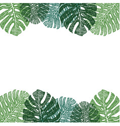 frame of green monstera leaves hand drawing vector image