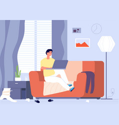 Gadget addiction man with laptop and room chaos vector