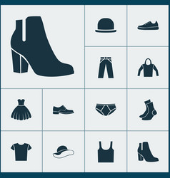 garment icons set collection of half-hose vector image
