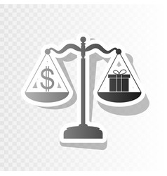 Gift and dollar symbol on scales new year vector