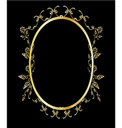 Gold oval floral frame vector