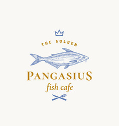 golden pangasius abstract sign symbol vector image