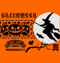 halloween party invitation poster or banner vector image