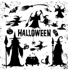 Halloween silhouettes witch pumpkin batspider vector