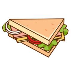 Ham cheese sandwiches on white background vector