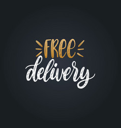 Handwritten phrase of free delivery vector