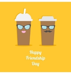Happy Friendship Day Two disposable coffee paper vector