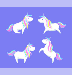 happy white unicorns rainbow color mane and horn vector image