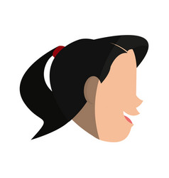 Happy woman with ponytail sideview icon image vector