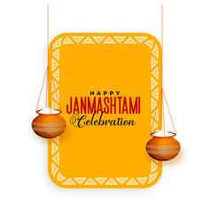 Hindu janmashtami festival celebration greeting vector
