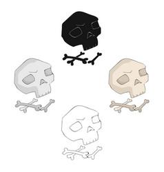 Human ancient bones icon in cartoonblack style vector