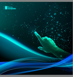 Human hand pointing to night sky vector