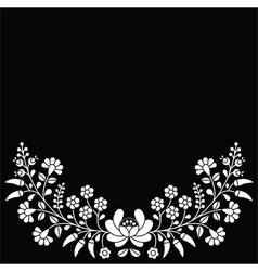 Hungarian white floral folk pattern - Kalocsai vector image