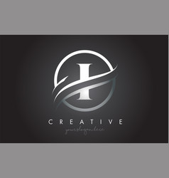 I letter logo design with circle steel swoosh vector