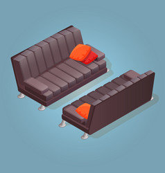 isometric cartoon sofa icon isolated on blue vector image