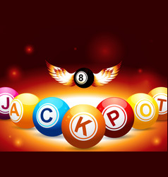 Jackpot and number 8 balls with wings on glowing vector