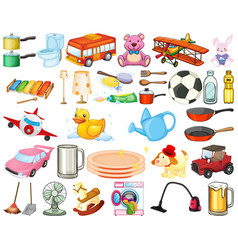 Large set household items and toys on white vector