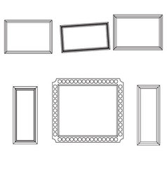 Linear frame set fo picture photo design vector image