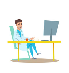 man doctor in office interior flat vector image