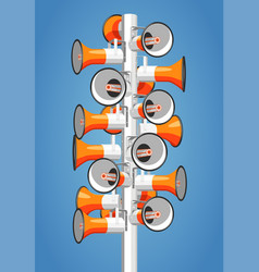 Many megaphones hang on pole vector