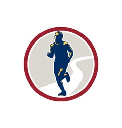 Marathon runner running circle retro vector