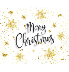 merry christmas background with golden snowflakes vector image