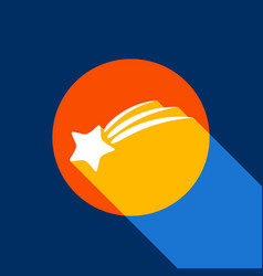 Meteor shower sign white icon on tangelo vector