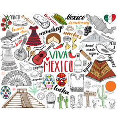 Mexico hand drawn sketch set vector
