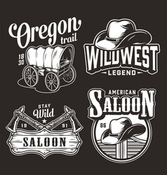 monochrome wild west vintage prints vector image