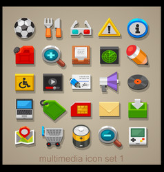 multimedia icon set-1 vector image