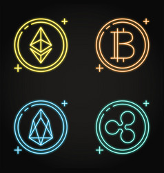 neon cryptocurrency icon set in line style vector image