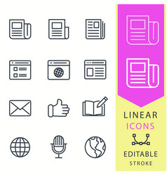 News - line icon set editable stroke vector