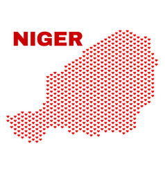 Niger map - mosaic of love hearts vector
