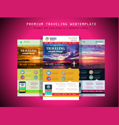 One page TRAVEL website flat UI design template vector