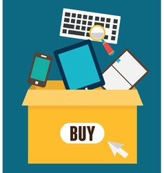 Online shopping add to box order and payment vector